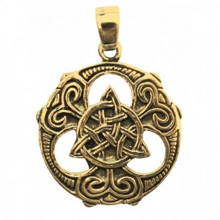Anhänger Silber Messing versilbert Keltischer Dreiecksknoten im Kreis