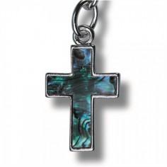 Schlüsselanhänger Paua-Muschel Kreuz