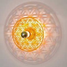 Taolight Leuchte pur Orange Blume des Lebens