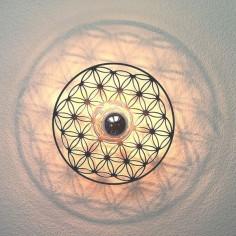 Taolight-Leuchte pur Edelstahl Blume des Lebens