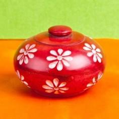 Blumen rot Specksteindöschen