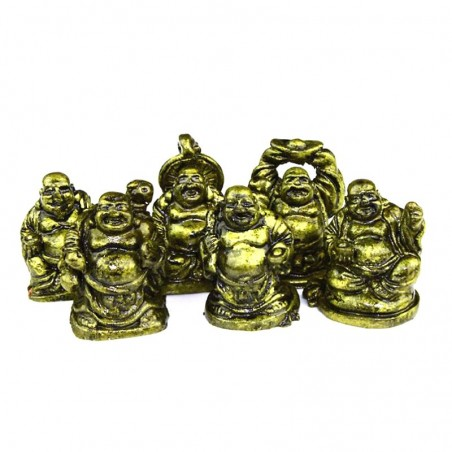 Happy Buddhas 6er-Set Polystone mini gold