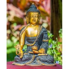 Medizinbuddha 21,5cm Messing gold-schwarz