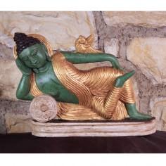 Schlafender Buddha 18cm Holz gefasst