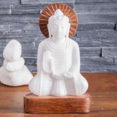 Buddha 21cm Alabaster mit Holz