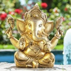 Ganesha 23cm Messing goldantik