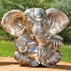 Ganesha 13cm Messing versilbert