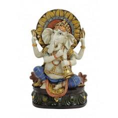 Ganesha 18cm Polyresin auf dem Thron