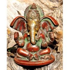 Ganesha 10cm Messing farbig