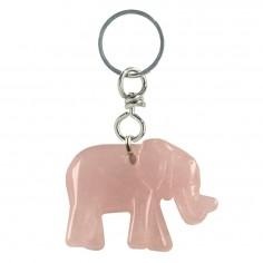 Schlüsselanhänger Elefant Rosenquarz