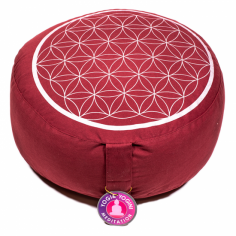 Blume des Lebens Meditationskissen rot/silber