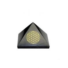 Pyramide 50mm Schungit Blume des Lebens