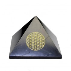 Pyramide 80mm Schungit Blume des Lebens