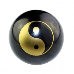 Edelstein-Kugel Schungit 5cm Yin Yang