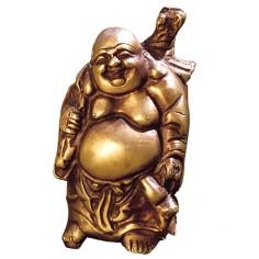 Happy Buddha  14 cm Messing mit Rucksack