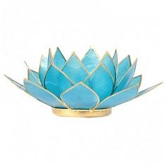Teelichthalter Chakra Lotus gold hellblau