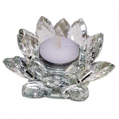 Teelichthalter Kristall Lotus