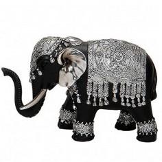Elefant silber-schwarz 13cm Polyresin