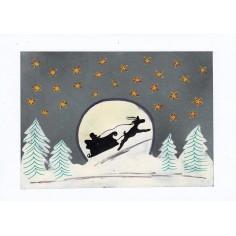 Weihnachtskarte Mann im Mond