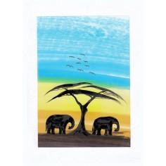 Neutrale Karte Elefanten unter Baum