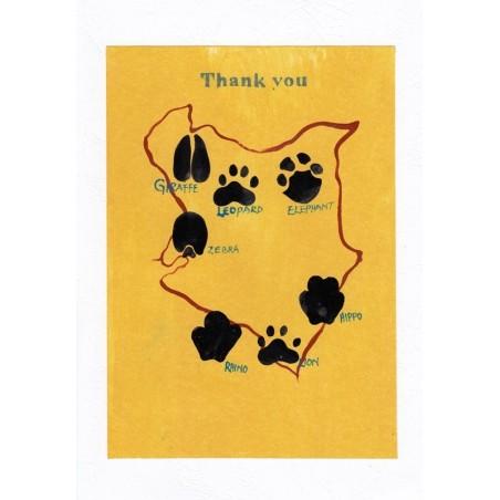 Dankes Karte Thank you Tierpfoten