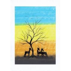 Neutrale Karte Tiere unter Baum
