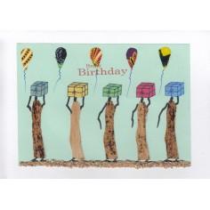 Geburtstags Karte Frauen mit Geschenken