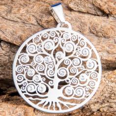 Weltenbaum Anhänger mit Swarovski Elements in Chakra Farben