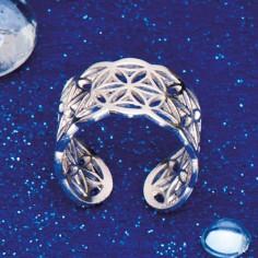 Blume des Lebens Ring Silber flach