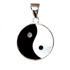 Yin Yang Anhänger Perlmutt Onyx 17 mm