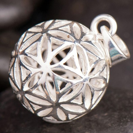Anhänger-Kugel Blume des Lebens Silber