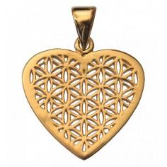 Anhänger Herz Blume des Lebens Silber vergoldet