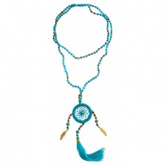 Traumfänger Halskette türkis mit Glasperlen