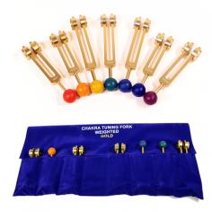Chakra Stimmgabeln Set goldfarbig