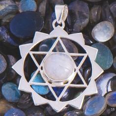 Amulett Hexagramm mit Regenbogen Mondstein