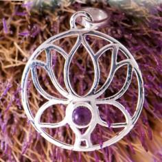 Anhänger Lotus mit Amethyst