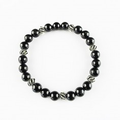 Armband schwarzer Turmalin 8mm Kugeln und Beads
